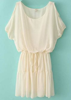 Beige Off the Shoulder Drawstring Waist Chiffon Dress