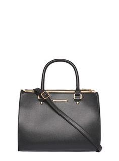 Black Gold Piped Tote Bag