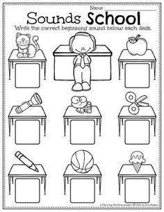 Identify and Write each Beginning Sound. - Back to School Preschool Worksheets Preschool Binder, Preschool Age, Preschool Worksheets, Preschool Activities, Back To School Worksheets, Back To School Activities, Hands On Activities, Recess Games, Letter Recognition