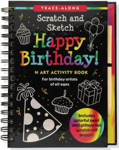 Happy Birthday Scratch and Sketch, Kids Activity Books, Scratch & Sketch Trace-Along, Peter Pauper Press $14.99