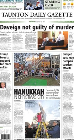 The front page of the Taunton Daily Gazette for Friday, Dec. 23, 2016.