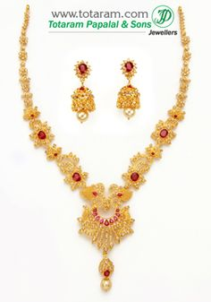 22K Gold Necklace & Drop Earrings Set with Uncut Diamonds - DS618 - Indian Jewelry from Totaram Jewelers