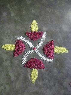 Rangoli Ideas, Rangoli Designs Diwali, Rangoli Designs Images, Beautiful Rangoli Designs, Diwali Decorations At Home, Flower Decorations, Wedding Decorations, Salvaged Decor, Silver Pooja Items