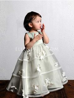 Ball Gown High Neck Sleeveless Floor-length Organza Flower Girl Dress #VJ079 - Flower Girl Dresses - Wedding Apparel