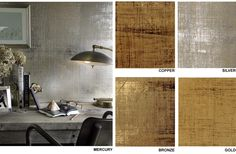 liquid metal seagrass glam wallpaper wall covering by Lennox--accent wall in a small bath Glam Wallpaper, Seagrass Wallpaper, Metallic Wallpaper, Metallic Paint Walls, Silver Walls, Painted Walls, Interior Walls, Interior Design, Wall Design