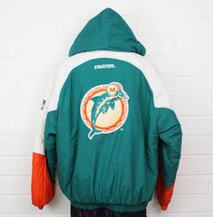 a7b30ff7 Miami Dolphins puffer oversized teal white and orange zip up vintage  starter ... Miami