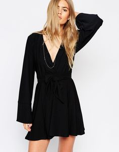 ASOS Kimono Wrap Dress with Tie Waist