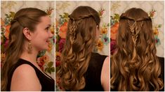 elizabethan hairstyles, woman with light brown hair and black dress, styled with soft curls, and decorated with twists and braids, joining at the middle Side Braid Hairstyles, Loose Hairstyles, Wedding Hairstyles, Cute Side Braids, Renaissance Hairstyles, Moda Vintage, Soft Curls, Modern Hairstyles, Blonde Women
