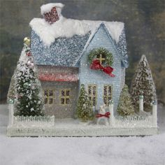 Mica putz house with old fashion truck full of ornaments. Shop fun vintage style Christmas decorations now! Christmas Village Houses, Christmas Town, Putz Houses, Christmas Villages, Noel Christmas, Christmas Paper, Vintage Christmas, Christmas Crafts, Christmas Decorations