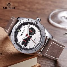 Megir hot men's watches 2016 fashion leather quartz watch man relogio top brand wrist watch luxury male luminous hour