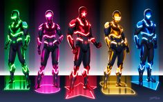 The Power Rangers meet Tron in these futuristic redesigns