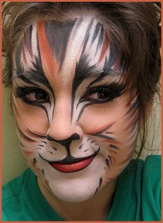 Cat Makeup Tutorials Photos And Ideas Face Painting Fun - Mind Blowing Halloween Makeup Ideas To Try This Year Thefashionspot Literally The Coolest Fucking Costume Ever Lots Of Inspiration Diy Makeup Tutorials And All Accessories You Need To Cr Cat Costume Makeup, Cat Face Makeup, Cat Costumes, Halloween Face Makeup, Mac Makeup, Halloween Cat, Kids Cat Makeup, Happy Halloween, Tiger Makeup