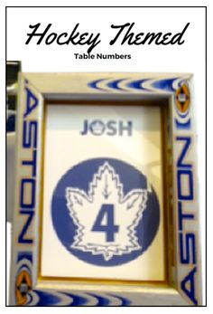 This table number frame was created from old hockey sticks for a hockey themed Bar Mitzvah in Toronto. www.simchastyle.com