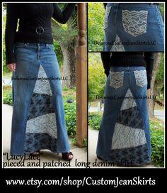 DELAROSA larga falda de la mezclilla del dril de algodón y