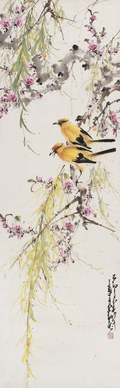 Colour ink painting: Birds and flowers in early spring by Zhao Shao'ang Sumi E Painting, China Painting, Asian Artwork, Art Asiatique, Art Japonais, Japanese Painting, Japanese Artwork, China Art, Watercolor Bird