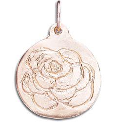 14K Pink Gold Rose Stamped Disk Charm