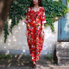 Red flower loose Causel fashion dress 6.13 new arrival free shipping one day