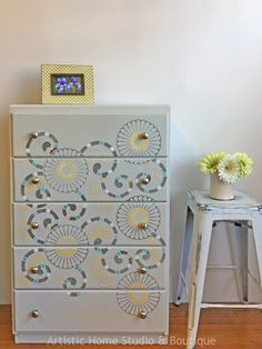 Fun dresser re-loved with Wood Icing, and the Kyoto stencil from Royal Design Studios, and General Finishes Milk Paint. By Artistic Home Studio & Boutique.