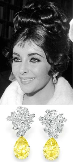 Liz Taylor arrives at a restaurant in Rome to celebrate her 30th birthday, wearing white & yellow diamond earrings.