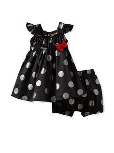 60% OFF Berlingot Baby Metallic Dots Dress Set (Spot)