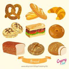 Bakery Bread Digital Vector Clip art/ Picnic Digital by CreamyInk Croissant Sandwich, Bagel Sandwich, Bread Clip, Pink Dessert Tables, Different Types Of Bread, Royal Icing Transfers, Sweet Buffet, Baking Logo, Bakery Menu