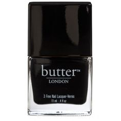 Butter London Union Jack Black Lacquer ($26) ❤ liked on Polyvore featuring beauty products, nail care, nail polish, makeup, beauty, nails, accessories, black, fillers and butter london nail polish