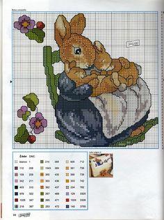 Cross stitch pattern.  Rabbit, mother, babies