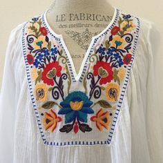 Embroidered Long sleeve Blouse Work once.  In excellent condition.  100% cotton. Merona Tops Blouses