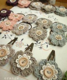 crochet flower hairclips