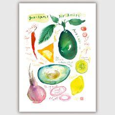Guacamole recipe Kitchen print, Food illustration, Watercolor poster, Kitchen decor, 8X10, avocado painting, vegetable art