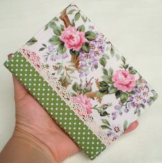 Quilted Fabric Journal Cover - Dotty Roses - Handmade A6 Diary Notebook by PatchworkMill