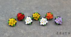 polymer clay floral earrings by zeitx
