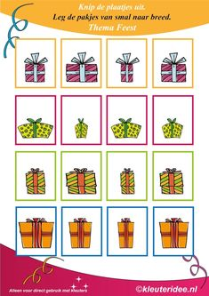 nl , Put the gifts from narrow to wide, free printable. I Love School, Too Cool For School, School Life, Christmas Activities, Activities For Kids, Math Stations, My Little Baby, Exercise For Kids, Kids Prints