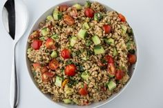 Recipe: Summer Farro Salad with Tomato , Cucumber & Basil