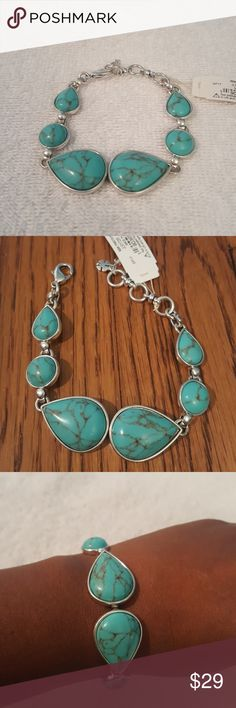 """Lucky Brand Turquoise Link Bracelet Up to 7.75"""" with 1"""" extender,  antique finish,  semi precious rock crystal.  Earrings available in my closet as well Lucky Brand Jewelry Bracelets"""