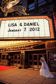 cool idea for a wedding.  Nice to see your name in lights.