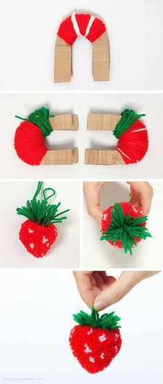 DIY Strawberry Pom Pom Tutorial (Under my crochet board because of the yarn) Kids Crafts, Cute Crafts, Diy And Crafts, Arts And Crafts, Cute Diy, Diy Projects To Try, Craft Projects, Sewing Projects, Craft Tutorials