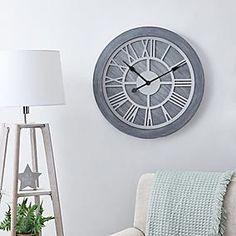 Glitter Mirrored 50cm Wall Clock Silver   Dunelm Dining Room Clock, Kitchen Wall Clocks, Wooden Clock, Wooden Walls, Plywood Furniture, Eames, Grey Wall Clocks, Large Wall Clocks, Wall Clock Brands
