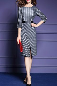 MOMINCATS -  Knee Length Stripe Work Dress