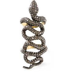 SAMIRA13 snake ring ($4,825) ❤ liked on Polyvore featuring jewelry, rings, accessories, jewels, anillo, metallic, coiled snake ring, pave setting ring, snake ring and anaconda jewelry