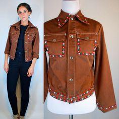 Vintage 70s Southwestern Brown Denim Shirt by BluegrassVoodoo