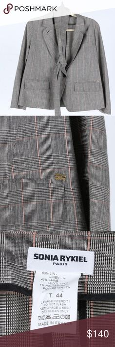 """NWOT SONIA RYKIEL grey plaid blazer w/ belt/scarf Mixture of grey, black and light red plaid and mini houndstooth pattern. 1 upper functional pocket and 2 lower ones. Unique pleated design on inner sleeve plus 4 black buttons, unlined. Made in France. New without tag, pristine condition, no blemishes. Comes with a matching scarf / belt (however you want to use it). Open to reasonable offers or bundle 2 for 15% off!  Measurements when laid flat: Length 24"""" / Shoulder width 15"""" / Chest 20""""…"""