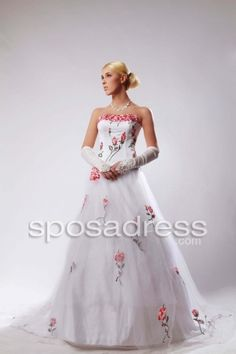 2012 Spring A-line Strapless Embroidery Designer Tulle Wedding Dress