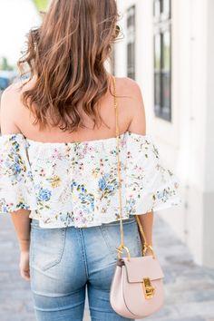 Floral Off-Shoulder Top, Blush Pink Bag & High Waist Jeans