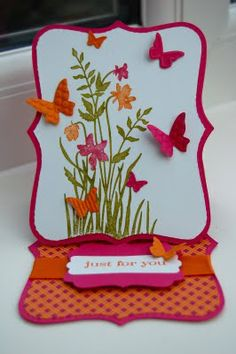 colorful and cheery top note easel card by Julie Kettlewell... love the embossed butterflies