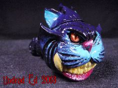 Cheshire Purple Black Cat Converted Hand Blown Glass by Zoombiez, $75.00