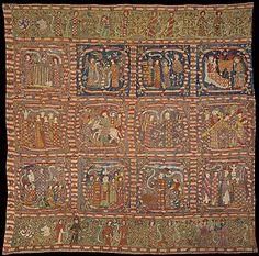 Embroidered Hanging  Date: late 14th century  Geography: Made in, probably Hildesheim, Lower Saxony, Germany  Culture: German  Medium: Silk on linen, painted inscriptions  Dimensions: 63 x 62 1/2 in. (160 x 158.8 cm)  Classification: Textiles-Embroidered  Accession Number: 69.106