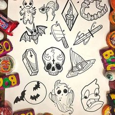 🎃TOMORROW🎃 Sunday is the first of our Halloween walk-in tattoo days this year at 👻 Join us from for specially… 406449935121328246 Flash Art Tattoos, 13 Tattoos, Body Art Tattoos, Tatoos, Halloween Doodle, Halloween Drawings, Halloween Tattoo Flash, Cute Halloween Tattoos, Kawaii Halloween