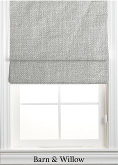 Roman Shade in a chic flat style. Made of a wool-linen blend, this custom window shade is hand-stitched by expert hands. Custom Roman Shades, Flat Style, Window Coverings, Swatch, Hands, Wool, Chic, Fabric, Cotton