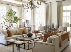 Chic neutral family room with big, bright windows